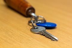 Key from office, close door to key, protect important informa royalty free stock photos
