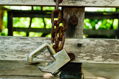 Key and old chain. Old rusty padlock and chain Royalty Free Stock Images