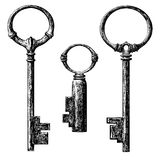 Key. Old style key collection . etching vector drawing Royalty Free Stock Image