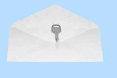 The key in open mail envelop. Stock Photography