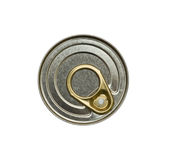 Key-opening can. Top view of key-opening can. Isolated Stock Photo