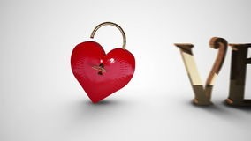 Key opening a heart lock with valentines message. Digital animation of Key opening a heart lock with valentines message stock footage