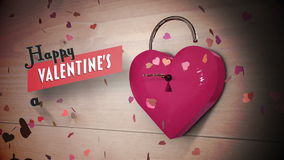 Key opening a heart lock with valentines message. Digital animation of Key opening a heart lock with valentines message stock video