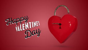Key opening a heart lock with valentines message. Digital animation of Key opening a heart lock with valentines message stock video footage