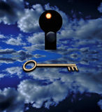 The key that opens. A key waits before a keyhole thru which is a view of space Stock Photography