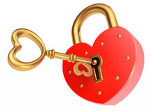 Key opens the padlock Stock Image
