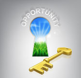 Key Opportunity Concept. Key to opportunity conceptual illustration of an idyllic sunrise over fields seen through a keyhole with a golden key and opportunity Royalty Free Stock Photo