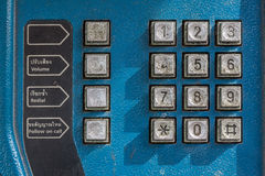 Key pad of old public telephone Stock Images