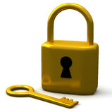 Key and padlock 3d Stock Images
