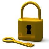 Key and padlock 3d. Golden key and padlock 3d Stock Images