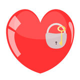 Key and padlock in red heart. Royalty Free Stock Photos