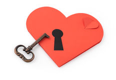 Key and paper heart with keyhole Stock Photo