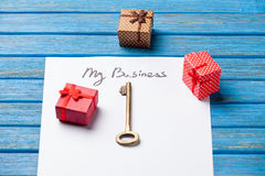 Key and paper with My Business words Royalty Free Stock Photos