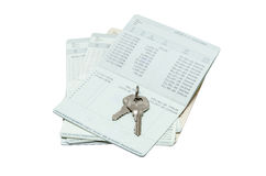 Key on passbook Royalty Free Stock Photography