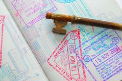 Key on passport full of stamps Royalty Free Stock Photo