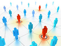 Key people in a networked crowd Royalty Free Stock Photography