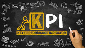 Key performance indicator concept. Hand drawing on blackboard Stock Photo
