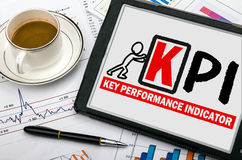 Key performance indicator concept. Hand drawing on tablet pc Royalty Free Stock Images