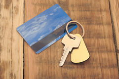 Key with plastic card Royalty Free Stock Photo