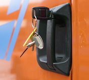 The key is plugged into the car door Royalty Free Stock Image