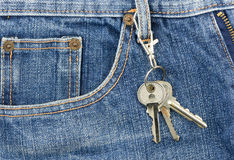 Key on pockets jeans Royalty Free Stock Photo