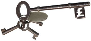 Key with Pound Sign. Old fashioned set of keys with end tab of largest key in the shape of a British pound sign. There is also a blank tab on the keyring which Stock Images