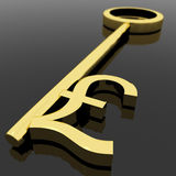 Key With Pound Sign As Symbol For Money Or Wealth. Gold Key With Pound Sign As Symbol For Money Or Wealth royalty free illustration
