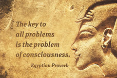 Key problem EP. The key to all problems is the problem of consciousness - ancient Egyptian Proverb citation Stock Photography