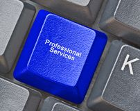 Key for professional services. Keyboard with key for professional services stock image