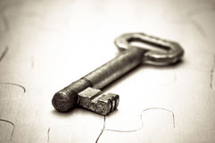 Key on the puzzle Royalty Free Stock Image