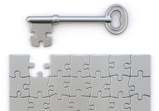 Key with puzzle. Key and puzzle concept over white background Royalty Free Stock Photography