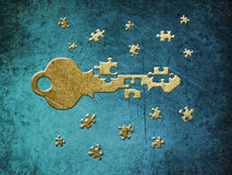 Key and puzzle stock photos