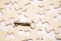Key and puzzle pieces Stock Images