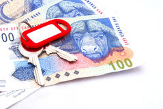 Key on Rands money Stock Photography