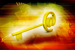 Key with at the rate symbol Royalty Free Stock Photo