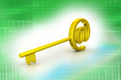 Key with at the rate symbol Royalty Free Stock Images