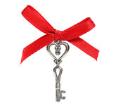 Key with red bow Royalty Free Stock Photography