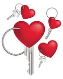 Key with Red Heart. Vector illustration Royalty Free Stock Photography