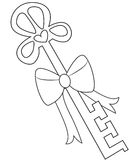 Key with a ribbon coloring page Royalty Free Stock Photos