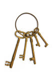 Key ring. With skeleton keys made out of brass Royalty Free Stock Images