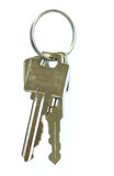 Key ring. With two keys isolated on white Royalty Free Stock Images