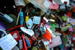 Key Seoul tower to blessing, Korea. Key in Seoul tower to blessing from people about Love, Korea Stock Photography