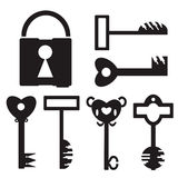 Key Set And Lock. 6 different black key and lock on white background royalty free illustration