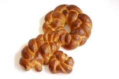 Key shape challah for shabbat. Challah bread shaped as a key is a symbol for good wealth. Jewish tradition stock photography