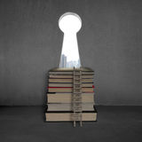 Key shape door with stack books, ladder and city view Stock Images
