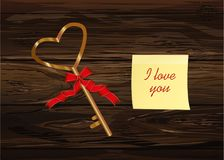 Key in the shape of the heart. Yellow sheet of paper for notes. Sticker. Valentine`s Day. Greeting card. Vector illustration on a wooden background Royalty Free Stock Photo