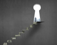 Key shape hole with money stairs Stock Photos