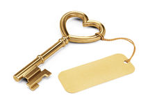 Key Shaped Heart With Blank Tag Royalty Free Stock Images