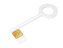 Key with sim card isolated on white Royalty Free Stock Photos