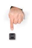 key skjuta för borttagningsfinger Arkivfoto